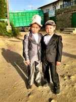 Kirgistan boys in schooluniform